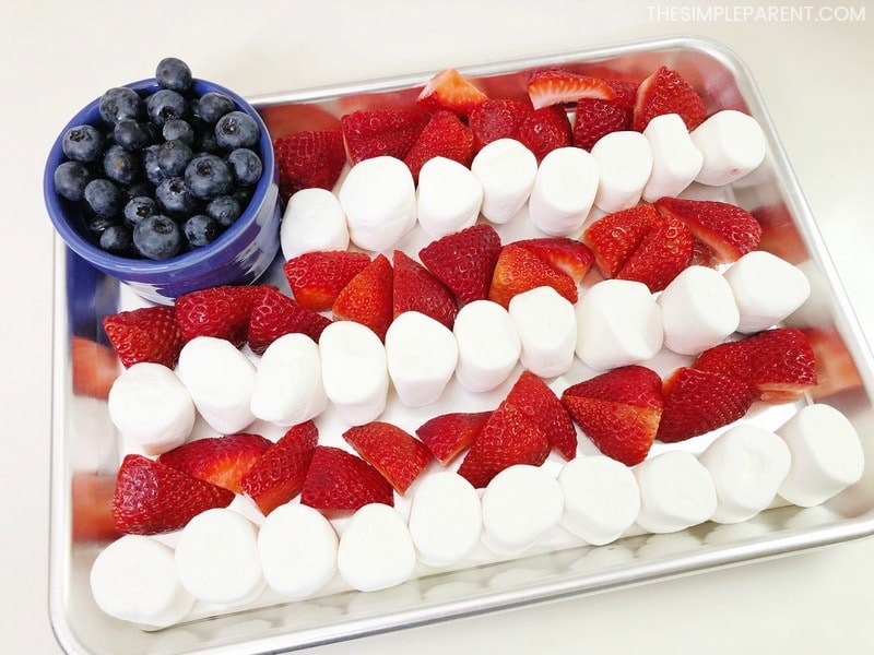 American flag made out of berries and marshmallows