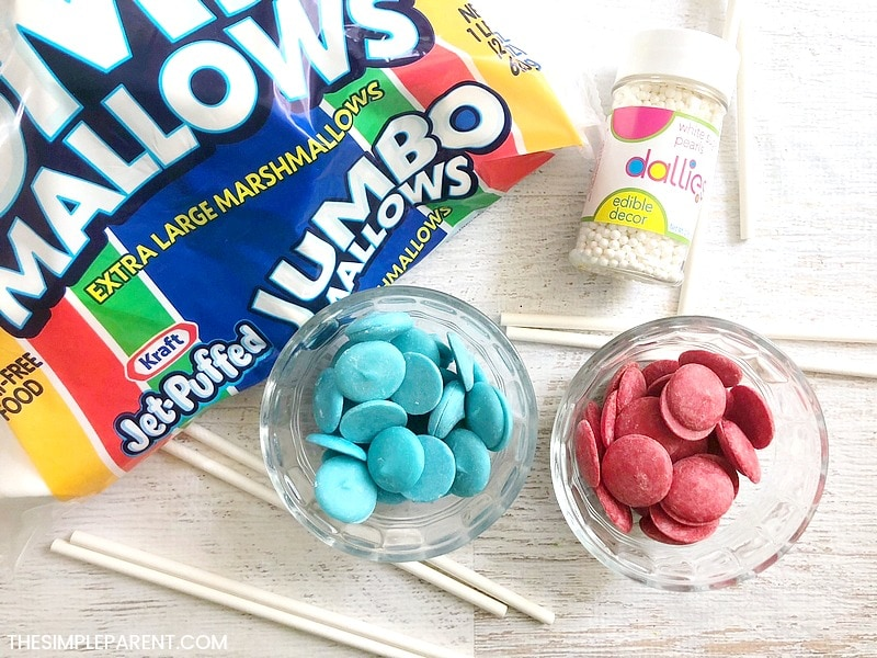 Ingredients to make American Flag marshmallow pops
