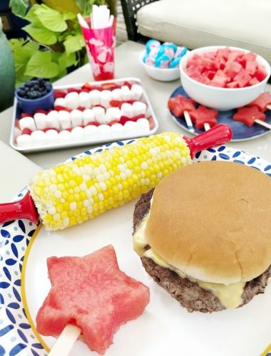 Fourth of July food ideas including sweet corn cheeseburger and watermelon
