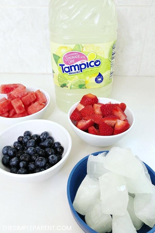 Ingredients to make frozen lemonade and fruit slushies