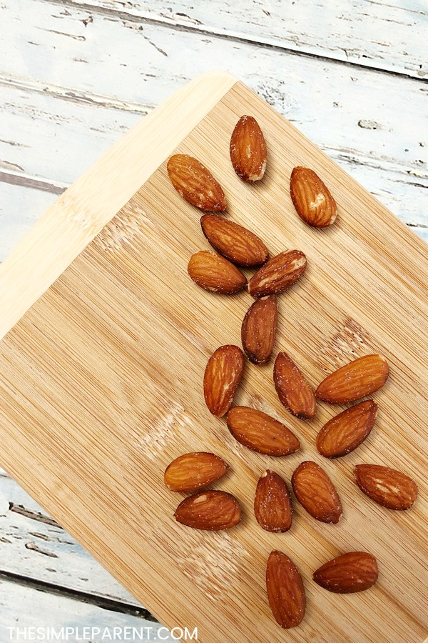 Almonds on a cutting board