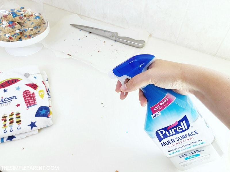 Using Purell to clean up in the kitchen