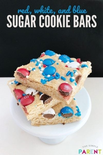 Sugar Cookie Bars are an easy recipe to make with the kids! You can make them from mix with M&Ms (or other candy)! They work great for Christmas, Easter, 4th of July, & more! If you love soft cookies like Lofthouse cookies, try this recipe!