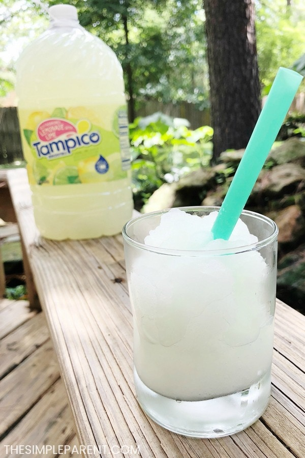 Homemade frozen lemonade made with Tampico Old Fashoned Lemonade with Lime