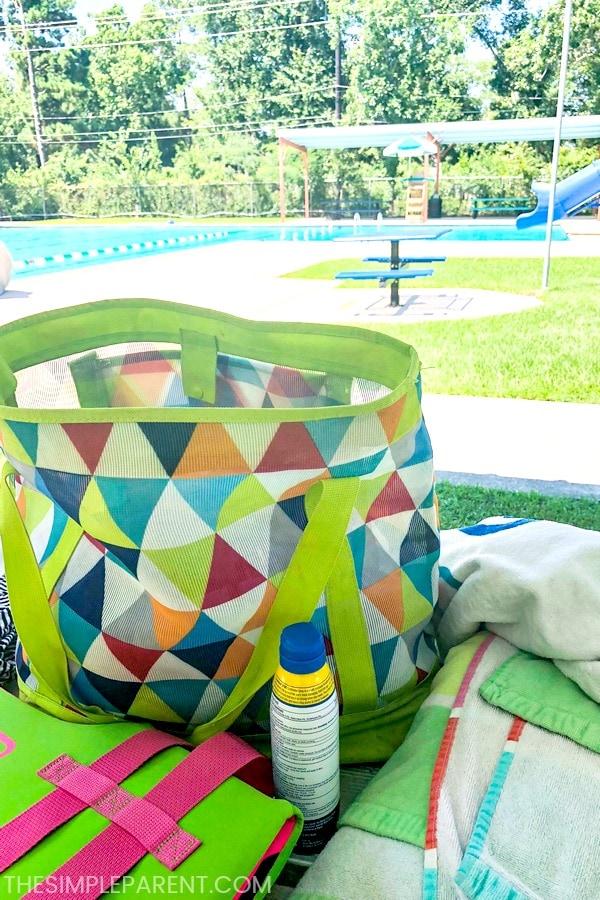 Pool bag and sunscreen