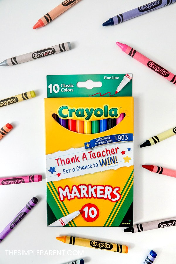Crayola markers and crayons for the Crayola Thank a Teacher contest