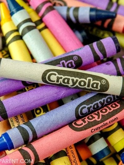 Basket of Crayola crayons