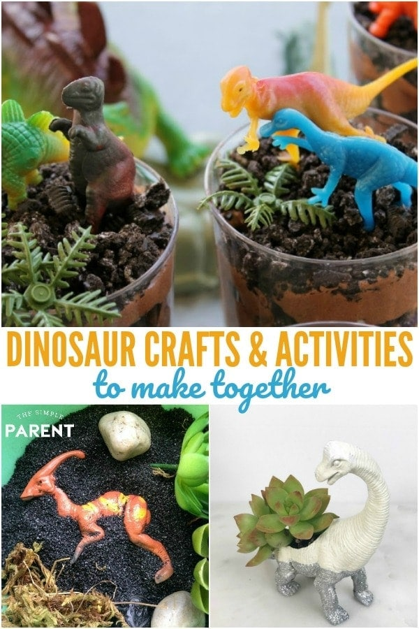Dinosaur crafts and activities for kids offer a great way to do hands on projects and learn! These ideas are great for toddlers, preschool, kindergarten, and elementary aged kids. They're easy DIY projects especially the DIY fossils!