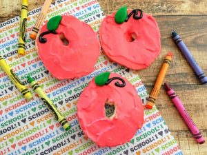 Finished edible apple craft makes a great first day of school breakfast