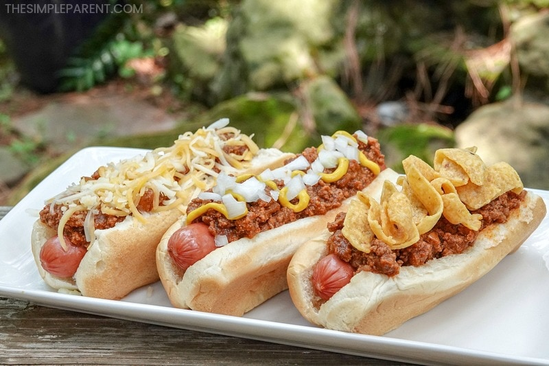 Chili dogs made with easy hot dog chili recipe and toppings