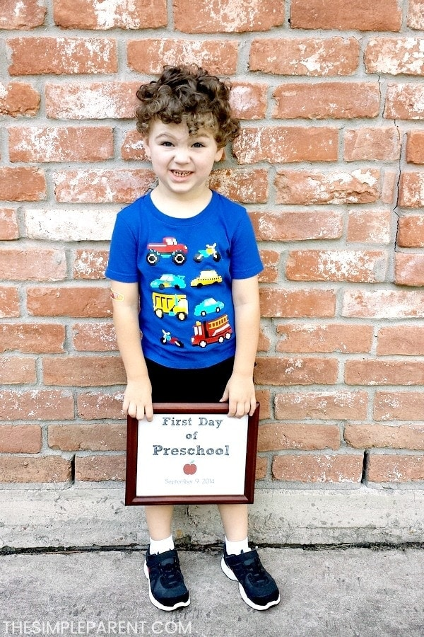Little boy on the first day of preschool