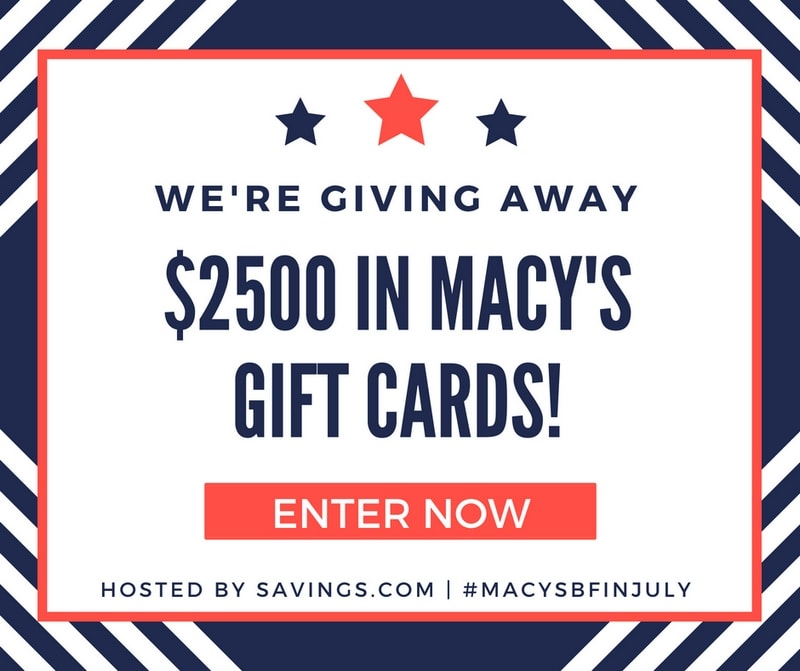 Savings.com Macy's Black Friday in July sale Giveaway