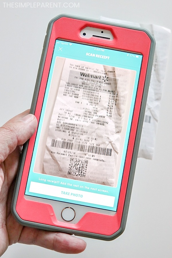 Scanning receipt into Box Tops app on phone