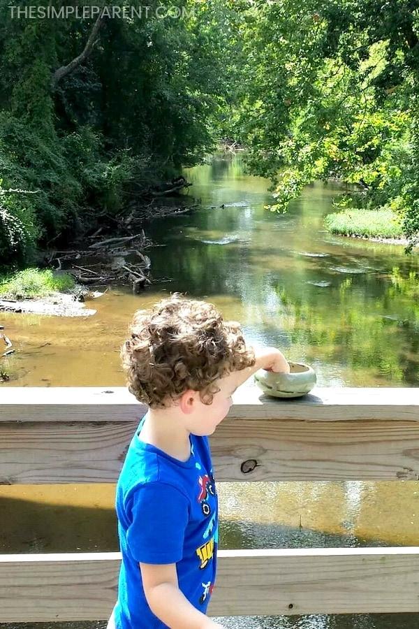 Boy throwing rocks in a river