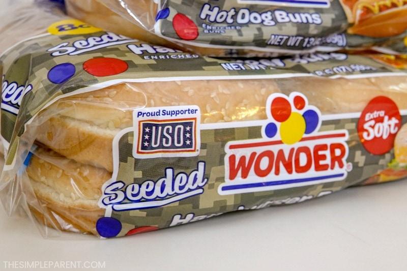 Package of Wonder Bread hamburger buns