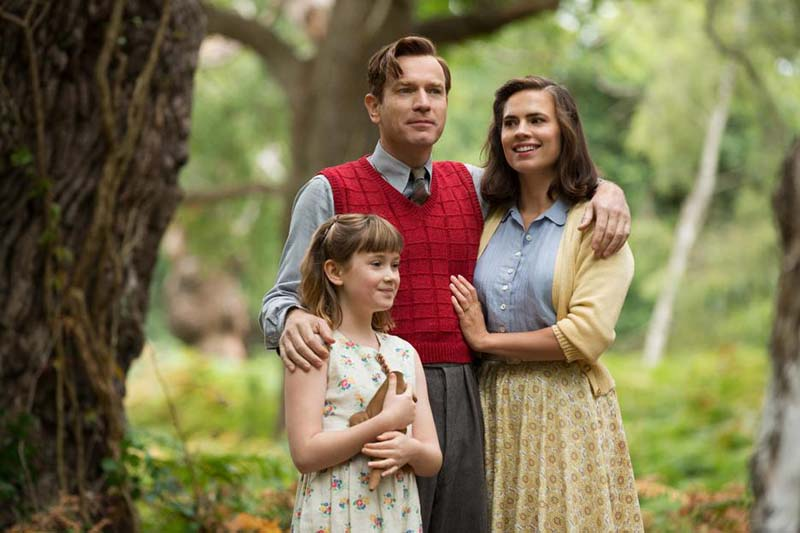 Hayley Atwell with fellow actors in Christopher Robin