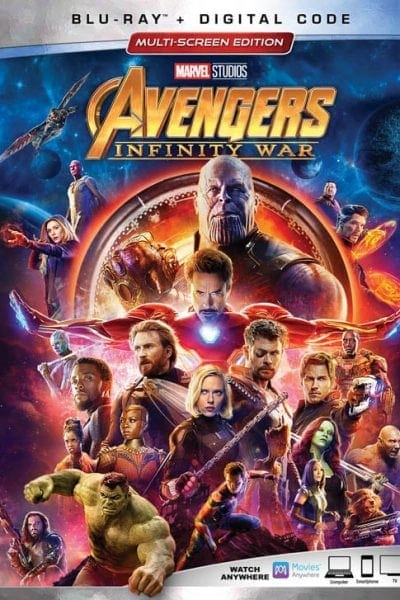 Avengers: Infinity War on BluRay & DVD Box Cover