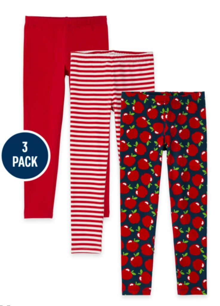 Red and white apple leggings for Back to School