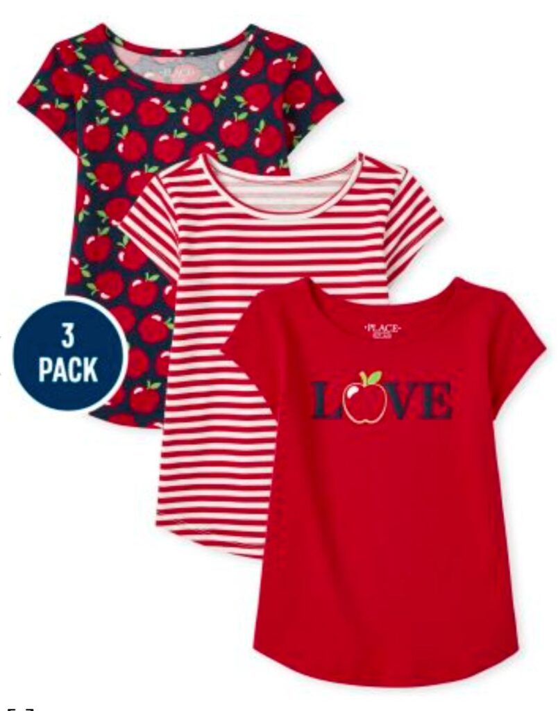 Apple themed shirts for back to school