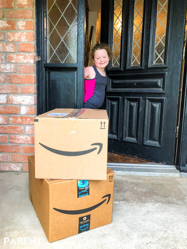 Amazon boxes at front door