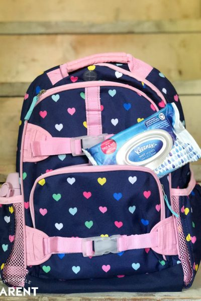 Kleenex wet wipes in child's backpack