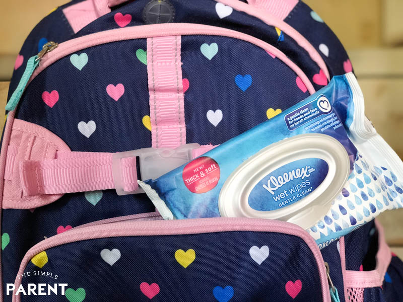 Kleenex wet wipes in backpack