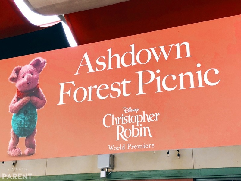 Ashdown Forest Picnic Sign with Piglet on it