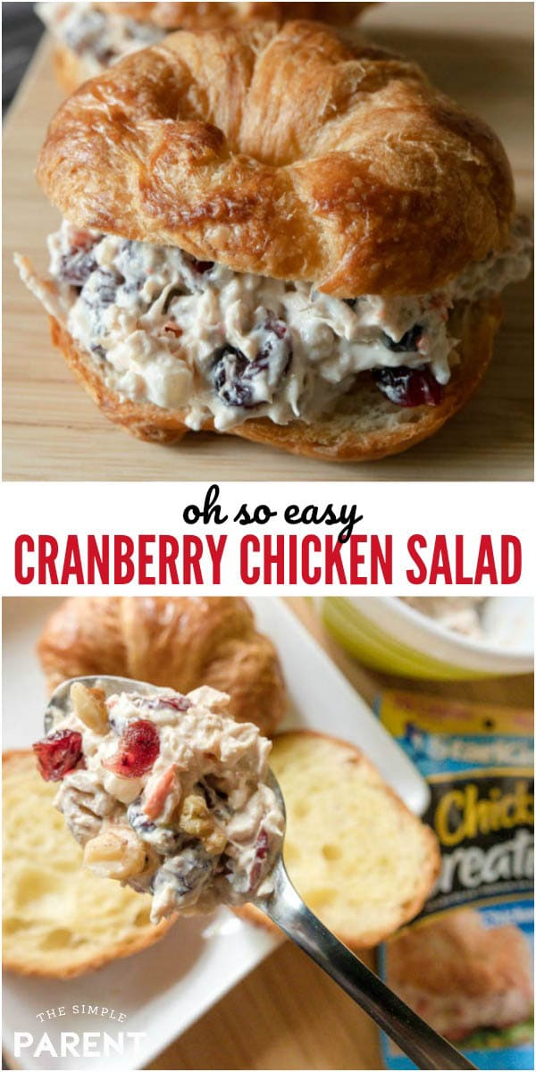 Easy Cranberry Chicken Salad is a quick lunch recipe. Make a classic sandwich or enjoy it with your favorite greens. It's simple to make and enjoy!