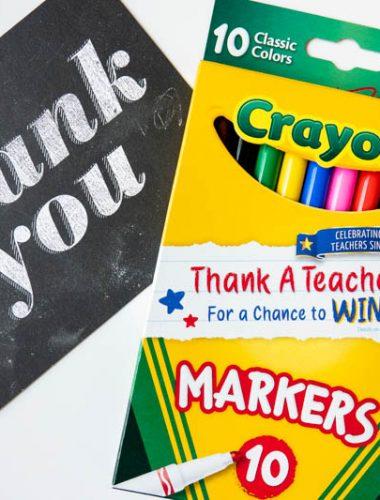 Teacher Thank You Note and Crayola Thank a Teacher Marker Box