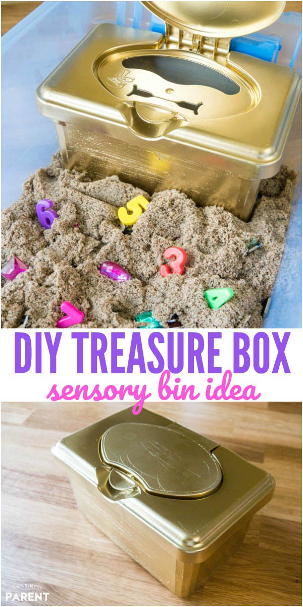 DIY Treasure Chest for Kids - Make this treasure box for a fun sensory bin with treasure hunt ideas! Learn how to make this simple craft project!
