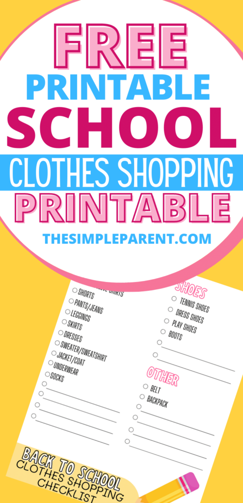 Free Printable Back to School Clothes Checklist