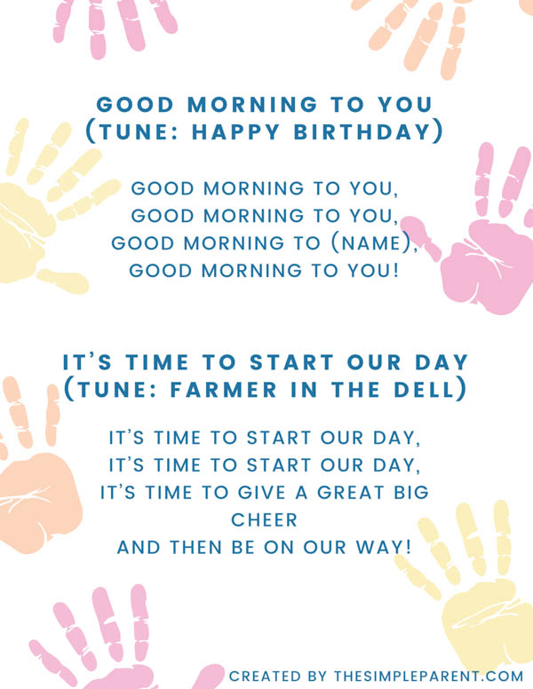 Good morning preschool songs lyrics
