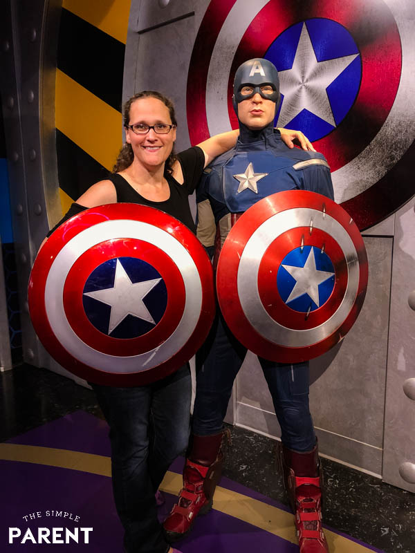 Posing with Captain America at Madame Tussauds Hollywood