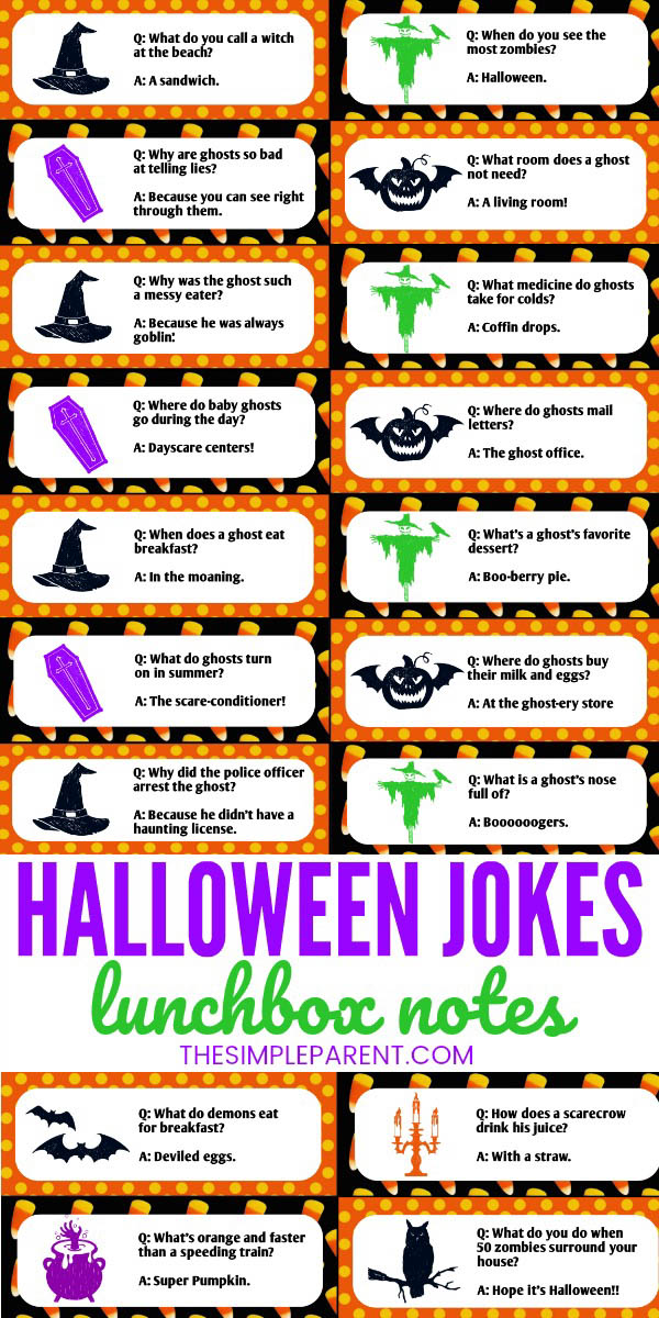Halloween Jokes for Kids printable lunchbox notes