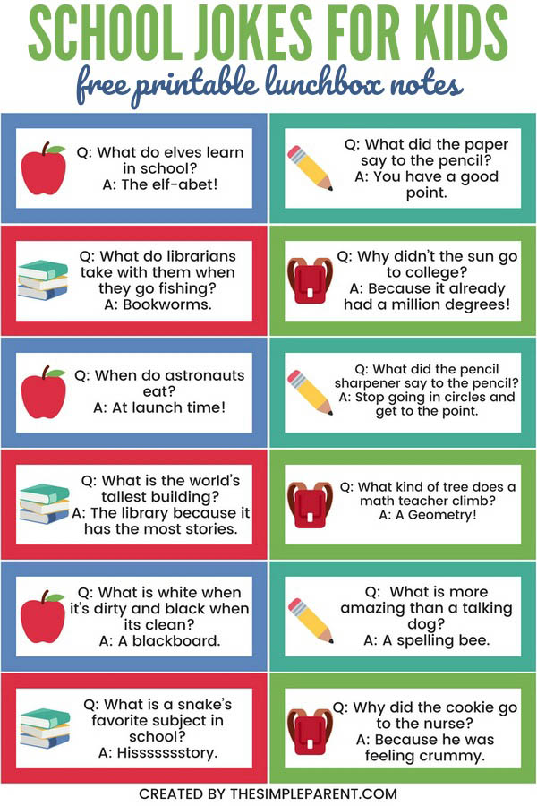 School Jokes for kids are a fun way to celebrate back to school! Whether the kids think they're hilarious or just funny, they will make the First Day of School easier! Check out the first one of the math jokes for kids! It's my favorite! Oh and get a free printable version of the jokes too!