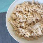 Bowl of slow cooker shredded chicken