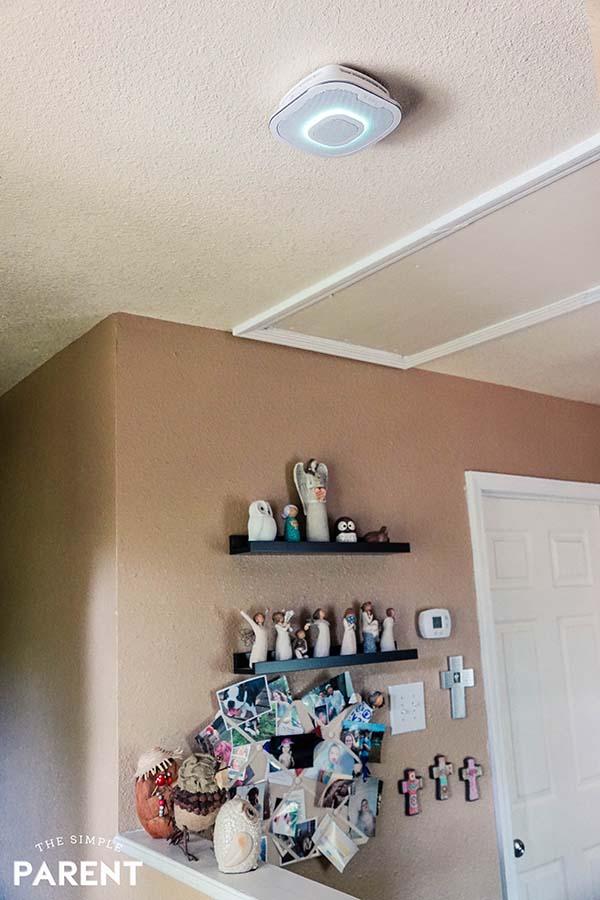 Smart Carbon Monoxide Detector installed on ceiling