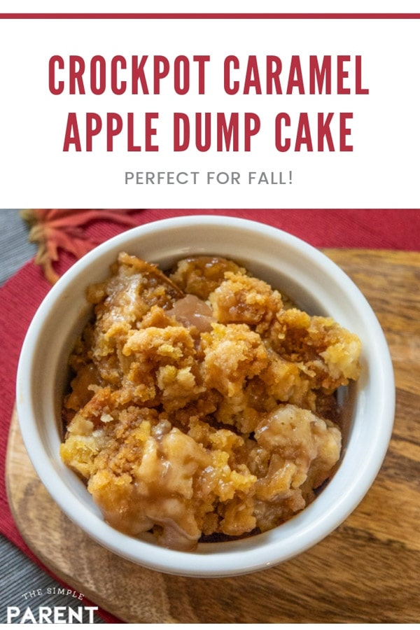 Crockpot Caramel Apple Dump Cake Recipe is an easy slow cooker that is perfect for the holidays! It has 4 ingredients including butter and cake mix! What is better than that combo? Top it with whipped cream or ice cream! Families give it the stamp of approval!