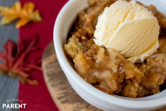 Salted Caramel Apple Crockpot Cake with Ice Cream