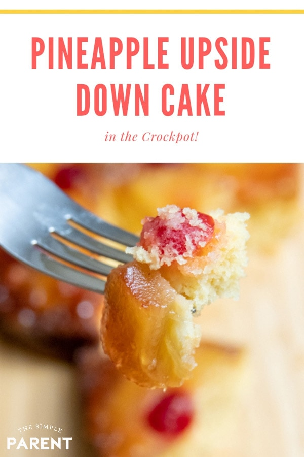 Crockpot Pineapple Upside Down Cake is one of the easiest dessert recipes to make in your slow cooker! It's an easy recipe for holidays and parties! Use box cake mix to make it even easier!