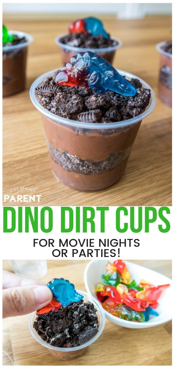 Make this Dinosaur Dirt Cup Recipe for your dinosaur themed party or movie night! It makes party planning easy! Kids love chocolate pudding and cookies, so it's sure to be a hit! It's a must have for a Jurassic World themed movie night!