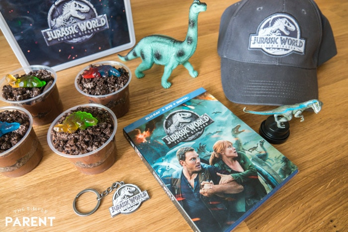 Jurassic World themed movie night with dinosaur dirt cup recipe