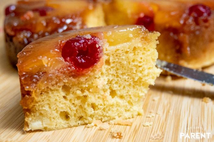 Slice of Pineapple Upside Down Cake Using Cake Mix