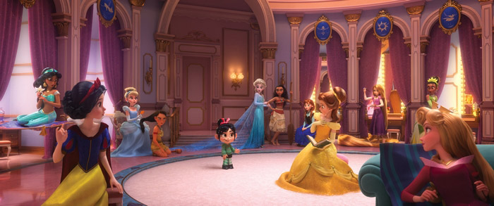 The princess scene from Wreck It Ralph 2 in the Ralph Breaks the Internet trailer