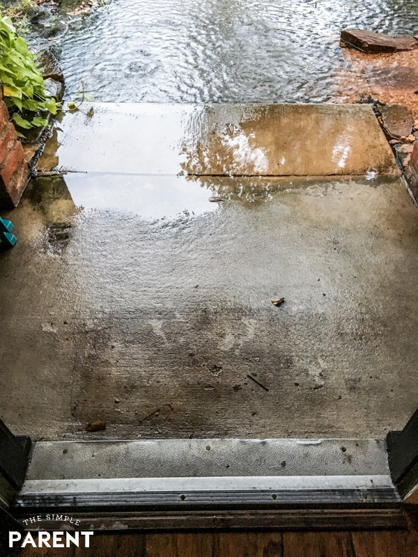 Water on front porch during Hurricane Harvey