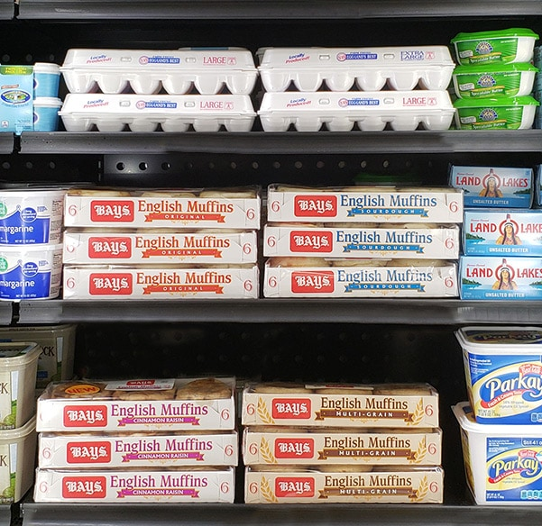 Bays English Muffins in the refrigerated aisle of the grocery store