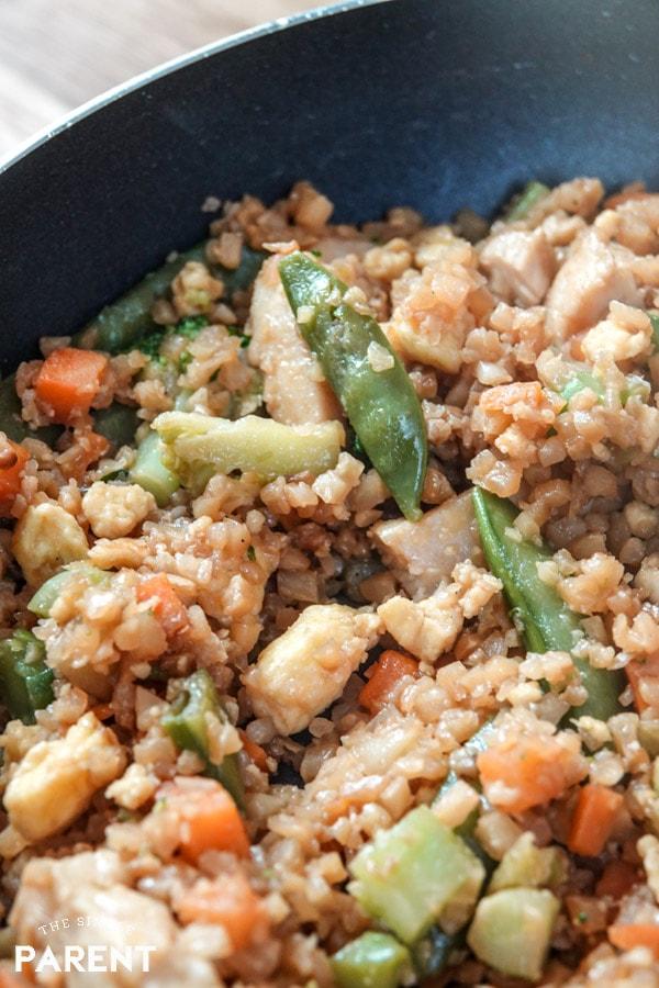 Cooking cauliflower chicken fried rice