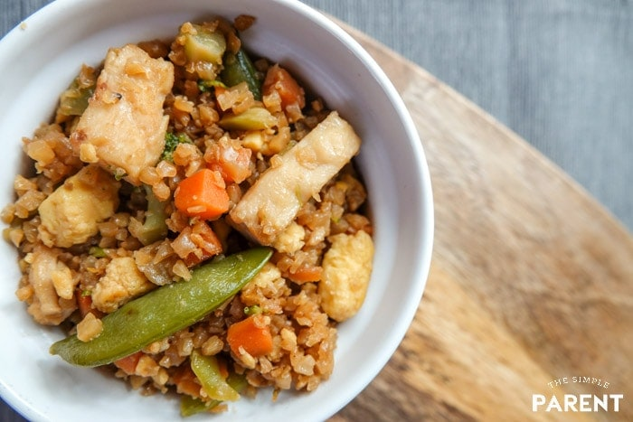 Bowl of Chicken Fried Rice Cauliflower