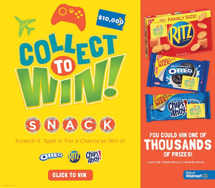 Family Size snacks Nabisco Collect to Win at Walmart