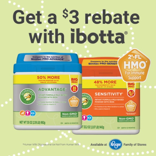 Ibotta offer for Comforts formula at Kroger